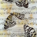 A sheet of musical page with butterflies on it. Photograph that looks like painting, by American artist and photographer Jo Whale