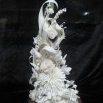 Wedding bouquet of white flowers. Porcelain