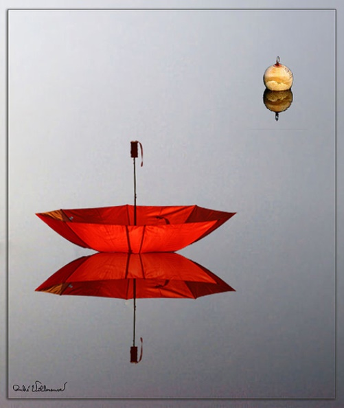 Red umbrella by Andre Villeneuve