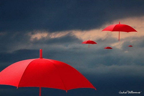 Red umbrella by Andre Villeneuve
