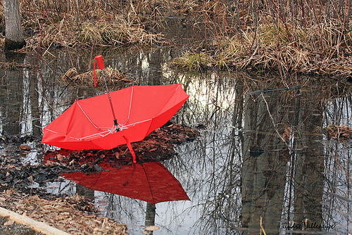 Pond in the autumn forest. Red umbrella project by Canadian photographer Andre Villeneuve