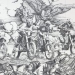 Angel and bikers, made from staples by French artist and sculptor Baptiste Debombourg