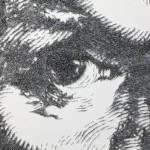 Portrait detail. Staple art by Baptiste Debombourg