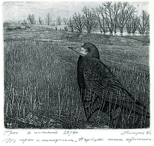 Rook. Etching graphics by Russian artist Stanislav Nikireev