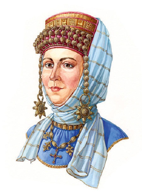 """Russian woman in a headwear with a kolt on ryasno and """"ochelie"""", the second half of the XII century"""