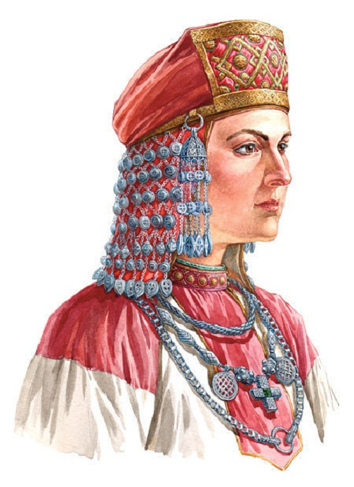 Slavic woman in headwear with bell-like suspension and mesh fabric underneath. On materials of Old Ryazan and Novgorod treasures, XII century