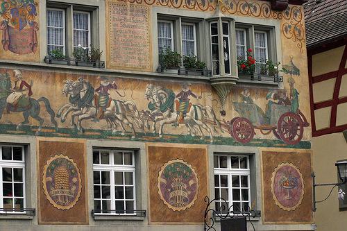 Historical scenes in paintings decorating houses of Stein am Rhein, Switzerland