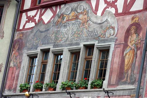 Detail of a painted house. Stein am Rhein, Switzerland