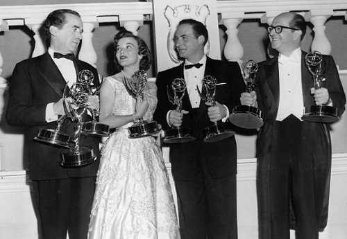 The 1956 Emmy winners. TV stars statues