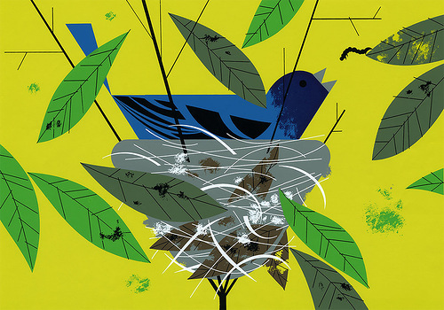 Nest. The Golden Book of Biology by American modernist artist Charley Harper
