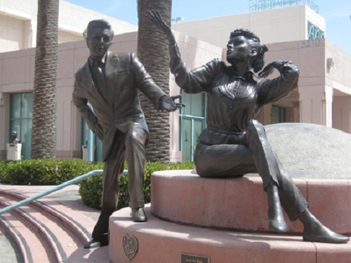 The Lucy–Desi Comedy Hour. TV stars statues courtyard