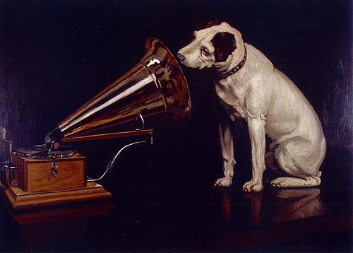 """The original version of the painting was completed on February 11, 1899 and was called """"Dog looking at and listening to the gramophone""""."""