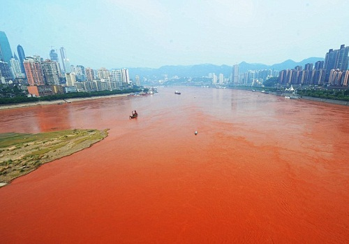 The Yangtze in China turns scarlet