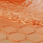 Red-orange waves of the river Yangtze in China