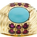 Turquoise, Ruby, Diamond, Gold Jewelry Suite