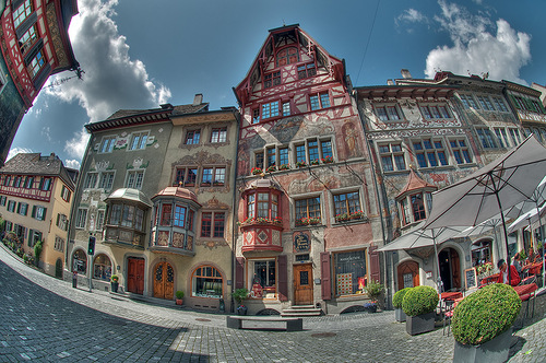 Gorgeous painted buildings in Switzerland