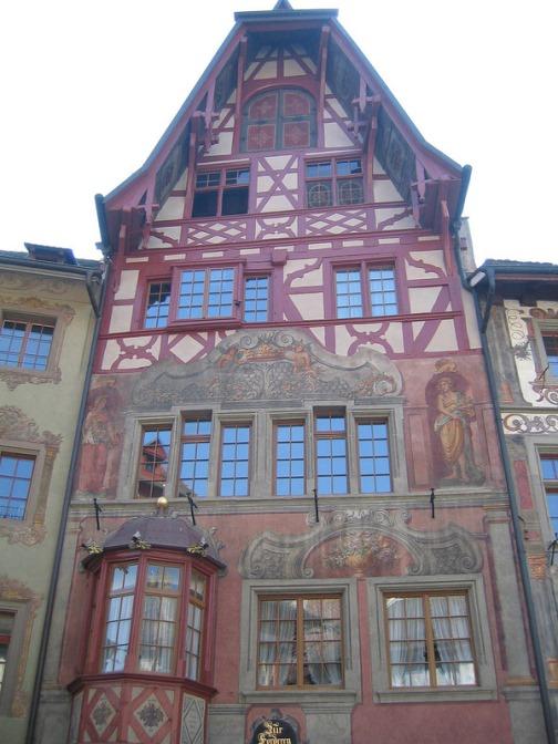 Details of unique architecture and painted buildings in Stein am Rhein, Switzerland