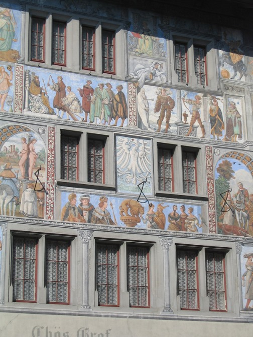 Life scenes and history in paintings. Unique painted buildings in Stein am Rhein, Switzerland