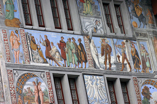 Religious or Biblic scenes and historical events and people depicted in the street art of the city of Stein am Rhein, Switzerland