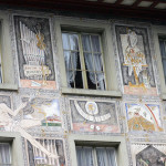 Science, culture and history of the city and the country in the paintings on the buildings in Stein am Rhein, Switzerland