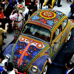 Vintage Volkswagen decorated with beads