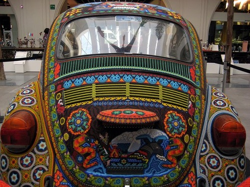 Huichol craftsmen from Mexico decorated this Volkswagen