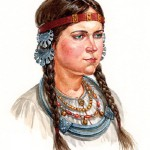 Vyatichi girl in headwear, in the temporal rings and neck-ring. late XI – early XII centuries