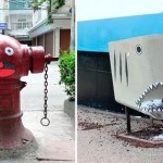Meanwhile, street art installations with weird faces create positive effect on passers-by