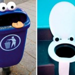 Trash can seems surprised, and toilet – surprised even more