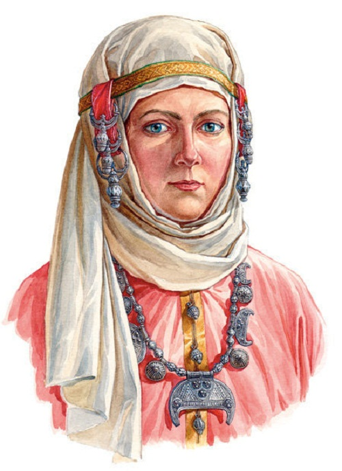 Woman in headwear with botryoidal 'naushnitsa' (on ears), late X – early XI century. According to the materials of Smolensk treasures.