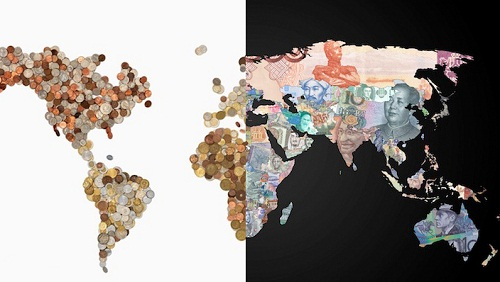World Map Made of Banknotes and Coins