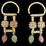 hanging earrings with carnelian, bone, beads, pearls.