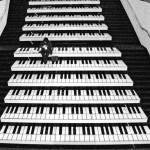 musical piano steps on the staircase of a Stockholm, Sweden subway station