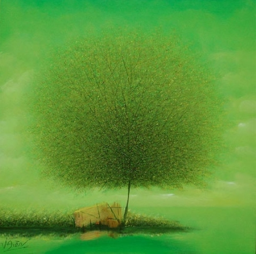 Beautiful fluffy Dandelion trees in paintings of Vietnamese artist Vu Cong Dien