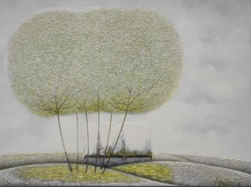 Autumn landscape. Colorful and fluffy Dandelion trees in paintings of Vietnamese artist Vu Cong Dien