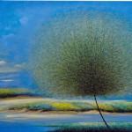 At the river. Colorful landscape with a dandelion-like tree. Painting by Vietnamese artist Vu Cong Dien