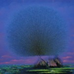 Evening. Fluffy Dandelion trees in paintings of Vietnamese artist Vu Cong Dien