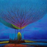 Summer landscape. Colorful and fluffy Dandelion trees in paintings of Vietnamese artist Vu Cong Dien
