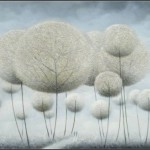Winter landscape. Colorful and fluffy Dandelion trees in paintings of Vietnamese artist Vu Cong Dien