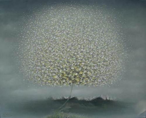 In the mist. White fluffy Dandelion-like tree. Paintings by Vietnamese artist Vu Cong Dien