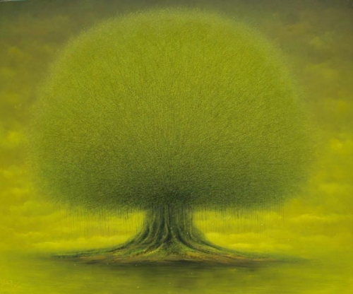 Old tree. Green landscape. Beautiful Painting by Vietnamese artist Vu Cong Dien