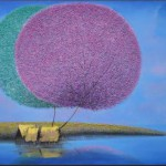 Purple and gray. Colorful and fluffy Dandelion trees in paintings of Vietnamese artist Vu Cong Dien