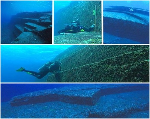 Mysterious pyramids of Yonaguni underwater world