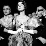 American fashion model Jean Patchett (February 16, 1926 – January 22, 2002) in theater dress. Photographer Nina Leen