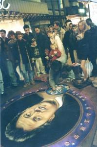 Bill Clinton, portrait on pavement. Beautiful street art by English freelance artist Julian Beever