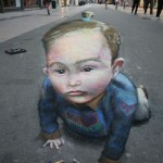 A child, 3D illusion, Beautiful street art by English freelance artist Julian Beever