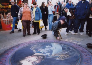 George V, Oxford street, London. Beautiful street art by English freelance artist Julian Beever