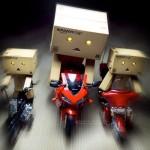 Three bikers. Charismatic cardboard people Danbo
