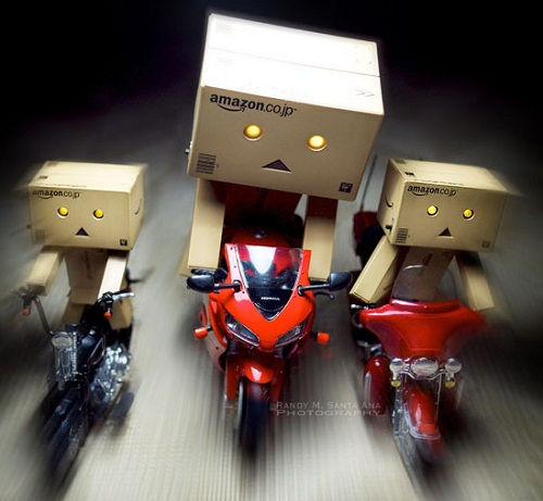 Three bikers. Charismatic cardboard people Danbo