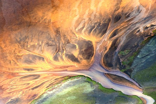 Beautiful river ornaments Aerial photography